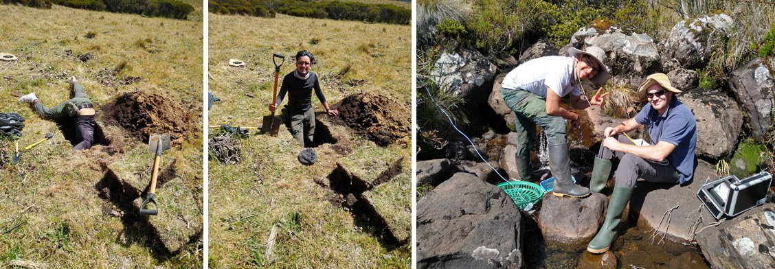 Jeffrey and Chris digging soil sample pits and taking water quality samples