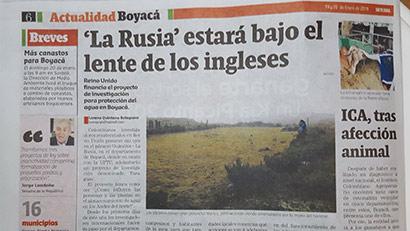 newspaper story entitled La Rusia estará bajo el lente de los ingleses