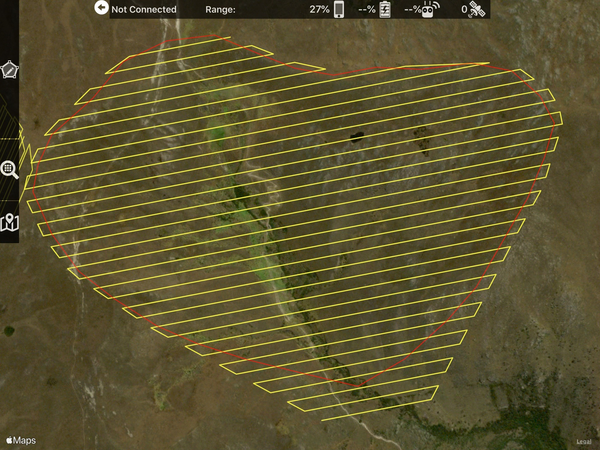 Screenshot of flight control software, Map Pilot used to plan and control the drone flights